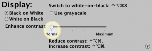 The Display tab of Mac OS X's Universal Access dialog