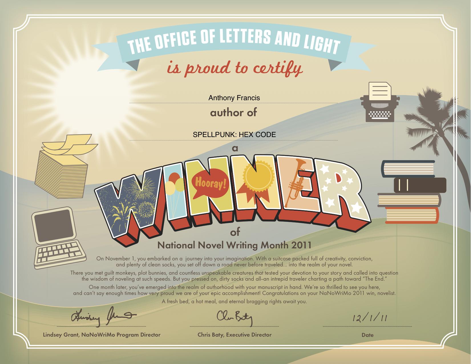 2011WinnerCertificate The Library of Dresan – Certificate Winner