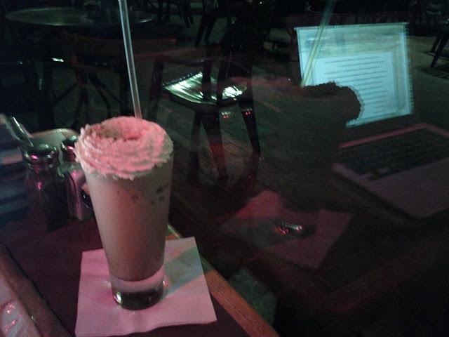 Mocha Freeze at Cafe Borrone, With Laptop Reflection