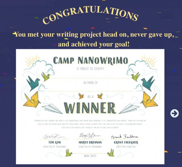 Camp Nano Victory Banner