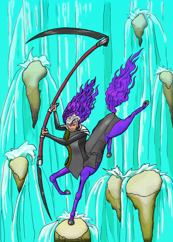 Porsche and the Scythe at the Waterfall, Colored