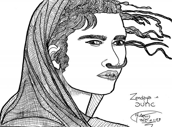 Sketch of Zendaya in Dune
