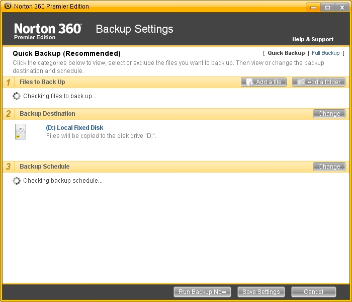 Norton Freezes Finding Backup Schedules