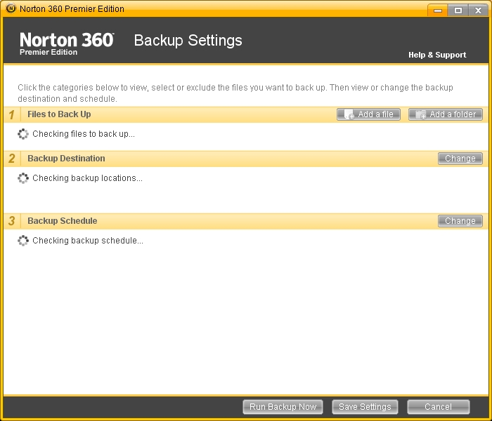 Norton Freezes Finding Backup Locations