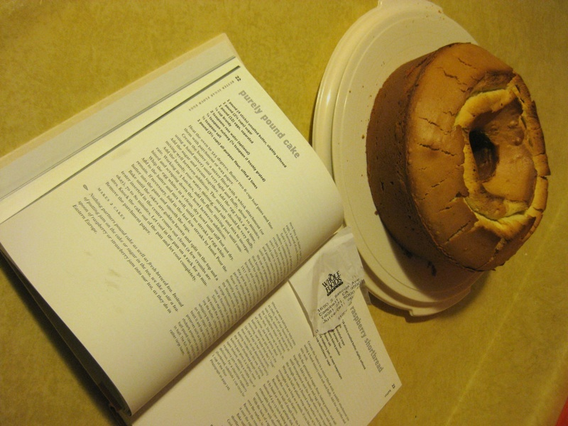 pound cake and cookbook