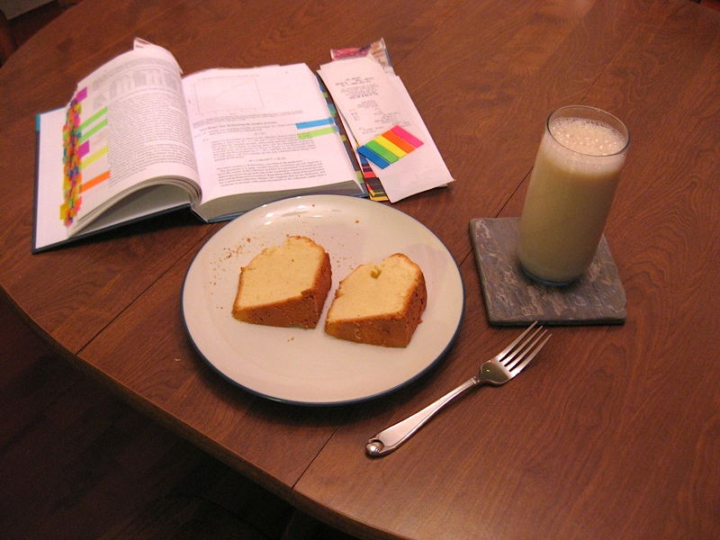 pound cake, soy milk and book spread