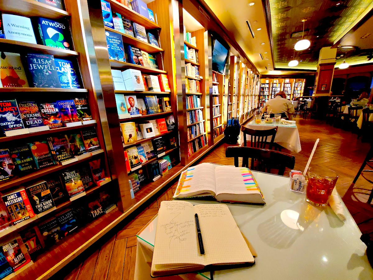 books and notebooks at cafe intermezzo
