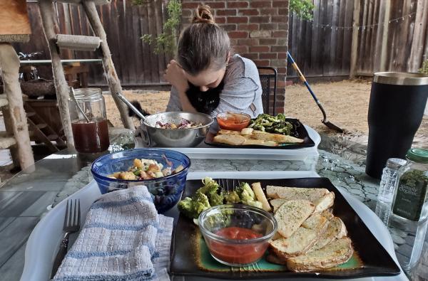 Vegan dinner, wife, and cat