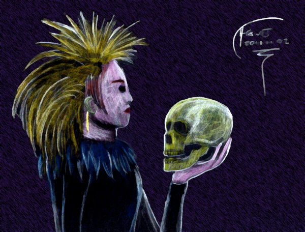 Dakota and the Skull, Colored Pencil on Black, Photoshopped