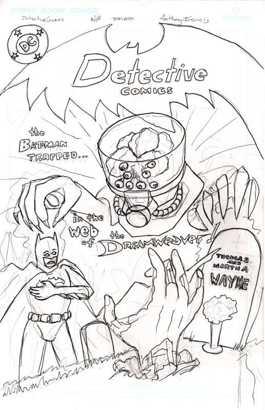 Rough sketch of cover for Batman v Dreamweaver