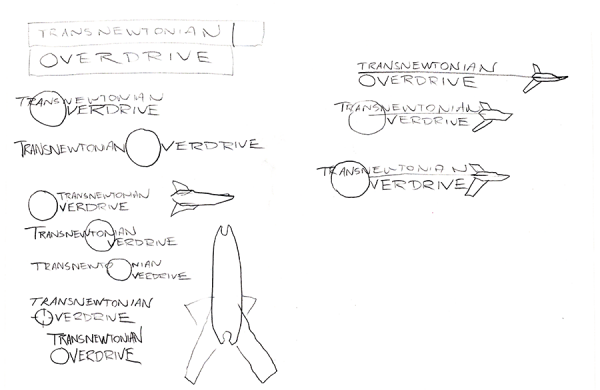 Sketches for the Transnewtonian Overdrive logo