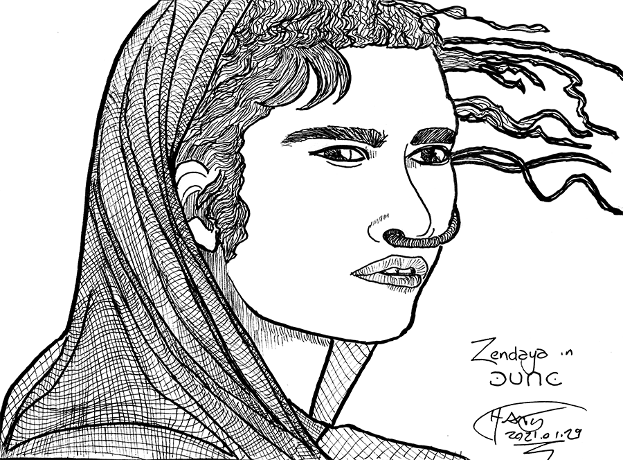 Sketch of Zendaya in Dune