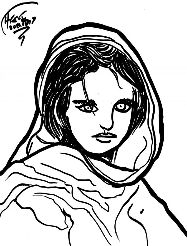 afghan girl sketch